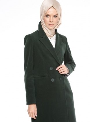 Green - Unlined - Shawl Collar - Coat