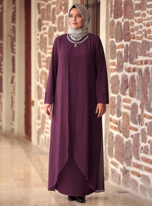 Crew neck - Unlined - Purple - Muslim Plus Size Evening Dress - Amine Hüma