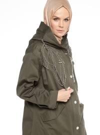 Gizli Fermuarlı Trençkot - Haki - Fashion Box London