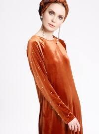 İncili Kadife Elbise - Kiremit - Ginezza