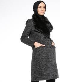 Kürk Detaylı Keçe Kaban - Siyah - Fashion Box London