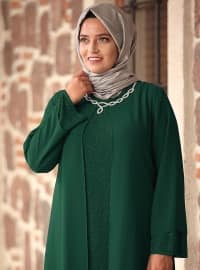 Crew neck - Fully Lined - Green - Muslim Plus Size Evening Dress