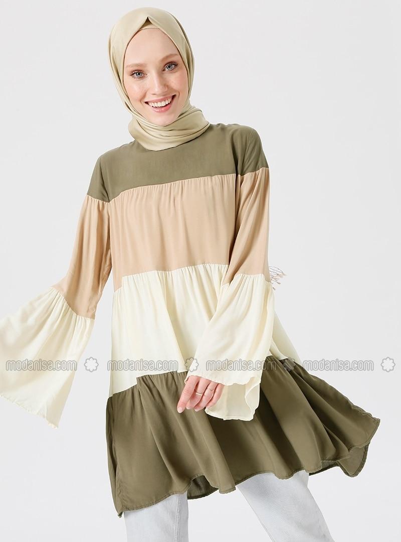 22e68556cff1e Shoptagr | Beige Khaki Crew Neck Viscose Tunic by Modanisa