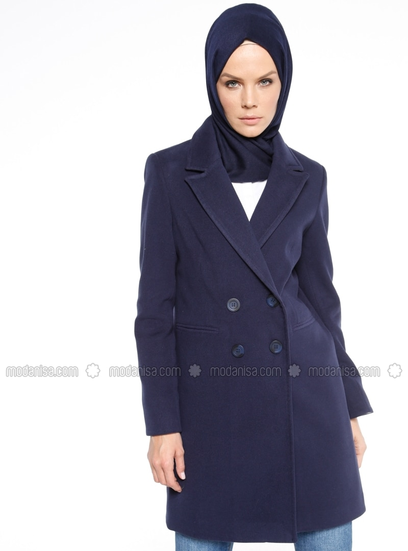 Navy Blue - Unlined - Shawl Collar - Coat