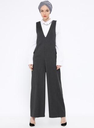 Gray – Stripe – Unlined – V Neck Collar – Jumpsuit – Peramood
