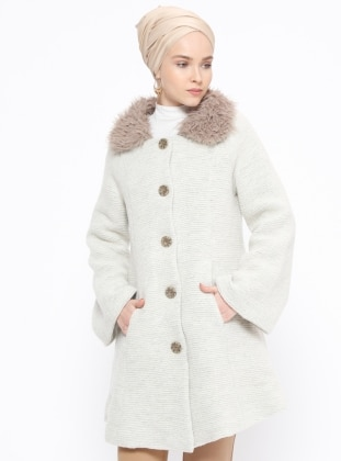 Ecru – Fully Lined – Point Collar – Coat – Peramood