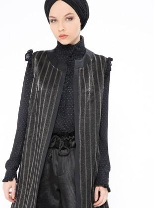 Black – Stripe – Unlined – Vest – Peramood