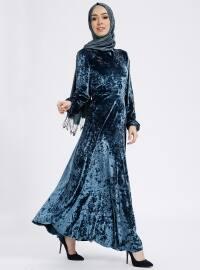 Nakış Detaylı Kadife Elbise - Mavi - Nihan