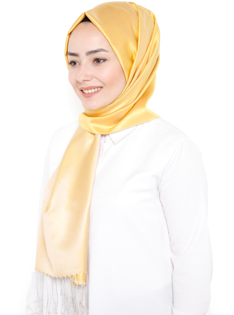 Tesettür %100 İpek Şal Silk Home Sarı Ekru Kadın Standart