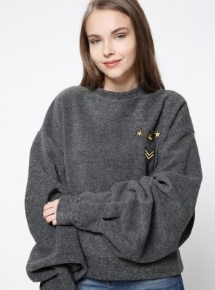 Armalı Sweatshirt- Gri - Koton Ürün Resmi