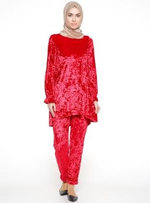 Kadife Tunik&Pantolon İkili Takım - Kırmızı - Bezen Ürün Resmi