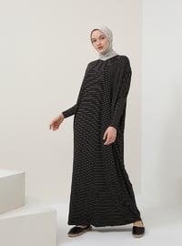 Black - Stripe - Crew neck - Unlined - Dresses