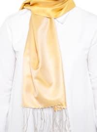Yellow - Ecru - Plain - Fringe - %100 Silk - Shawl