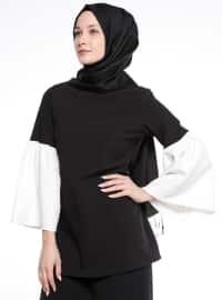 Kol Detaylı Bluz - Siyah - Tuncay
