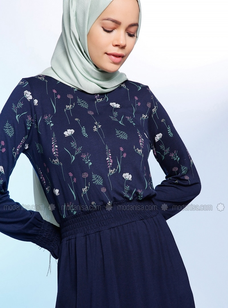Navy Blue - Floral - Crew neck - Viscose - Tunic