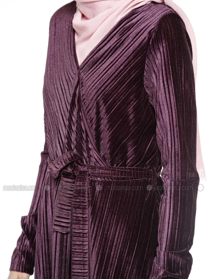 Purple - V neck Collar - Fully Lined