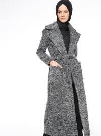 Kuşaklı Triko Kaban - Siyah Beyaz - Fashion Box London