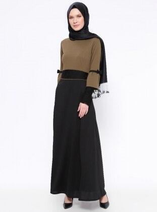 Black – Khaki – Crew Neck – Unlined – Dresses – Zenane