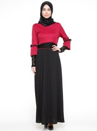 ZENANE Dantelli Elbise - Vişne Siyah