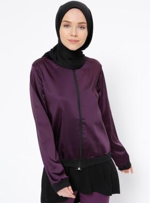 Crew Neck – Unlined – Purple – Jacket – Peramood