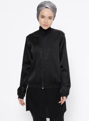 Black – Unlined – Crew Neck – Jacket – Peramood