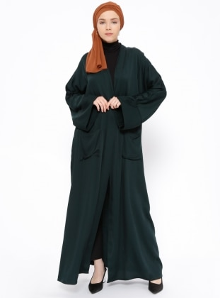 Green – Unlined – V Neck Collar – Abaya – Peramood