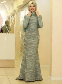 Balık Brokar Abiye Elbise - Mint - Gamze Özkul