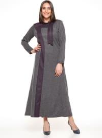 İnci Detaylı Elbise - Mürdüm - Metex