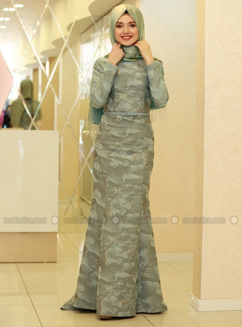 3edb6c56622 Mint - Unlined - Crew neck - Muslim Evening Dress