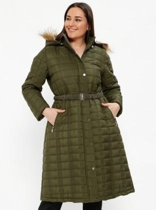 Khaki - Fully Lined - Plus Size Overcoat