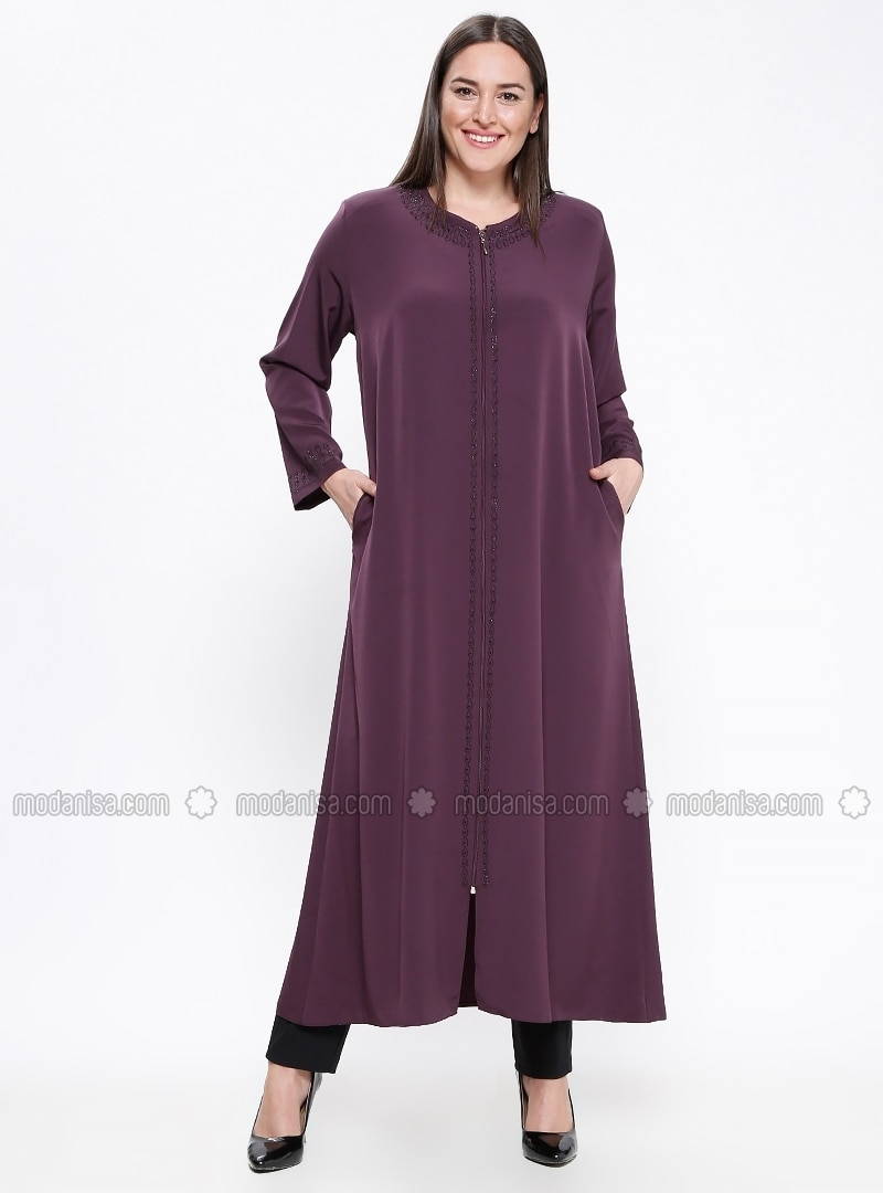 Purple - Crew neck - Unlined - Plus Size Abaya