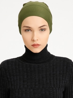 Combed Cotton - Lace up - Khaki - Bonnet - Tuva Şal
