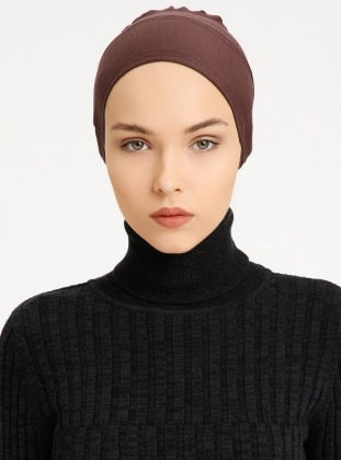 Combed Cotton - Lace up - Brown - Bonnet - Tuva Şal