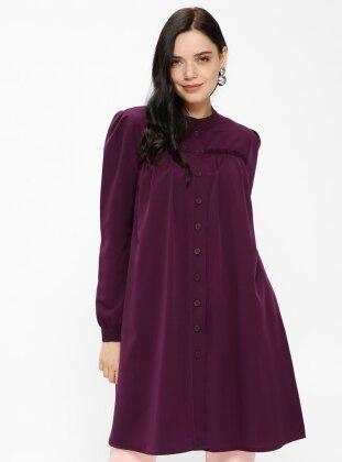 Purple - Button Collar - Tunic