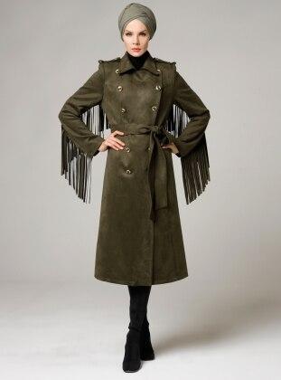 Point Collar - Fully Lined - Khaki - Coat