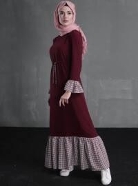 Eflin Elbise - Bordo - Delkash