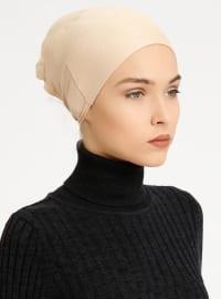 Combed Cotton - Lace up - Beige - Bonnet - Tuva Şal