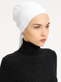 Combed Cotton - Lace up - White - Bonnet - Tuva Şal