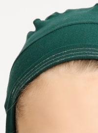 Combed Cotton - Lace up - Green - Bonnet - Tuva Şal