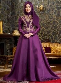Şehrazat Abiye Elbise - Mürdüm - Mevra