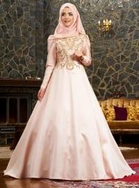 Şehrazat Abiye Elbise - Somon - Mevra