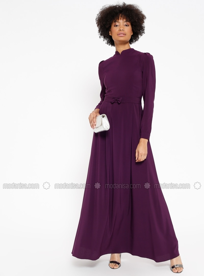 Purple , Crew neck , Fully Lined , Dresses