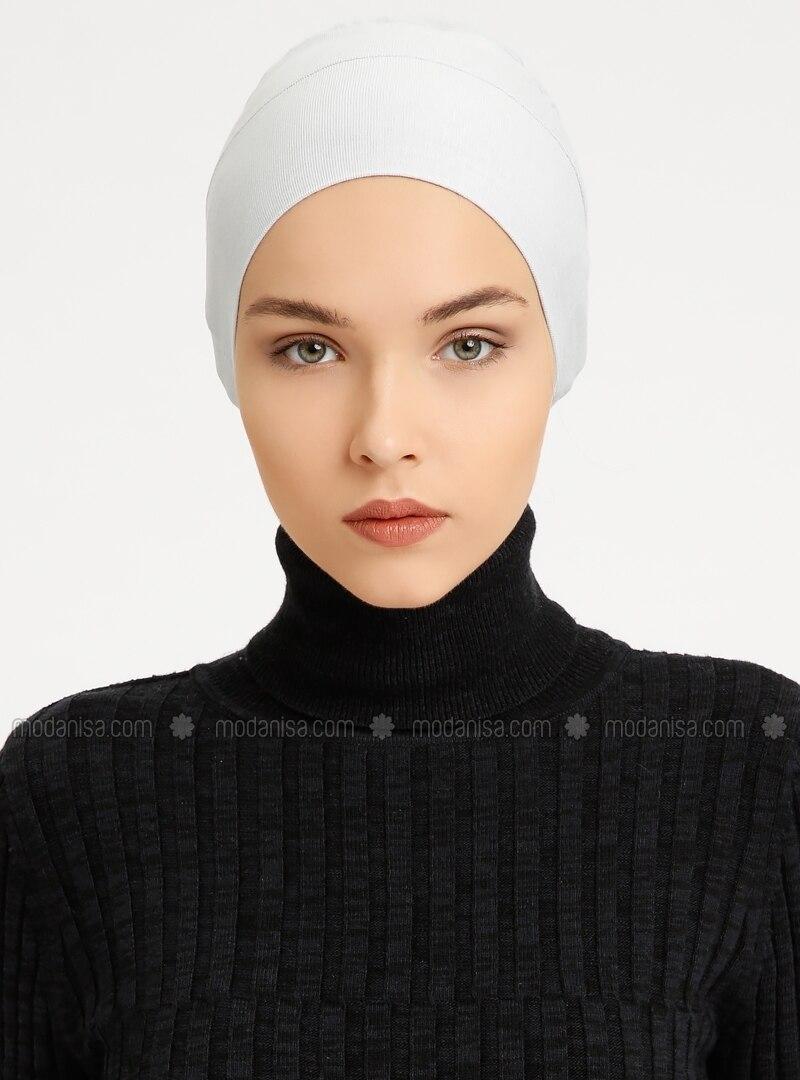 Combed Cotton - Lace up - Gray - Bonnet - Tuva Şal