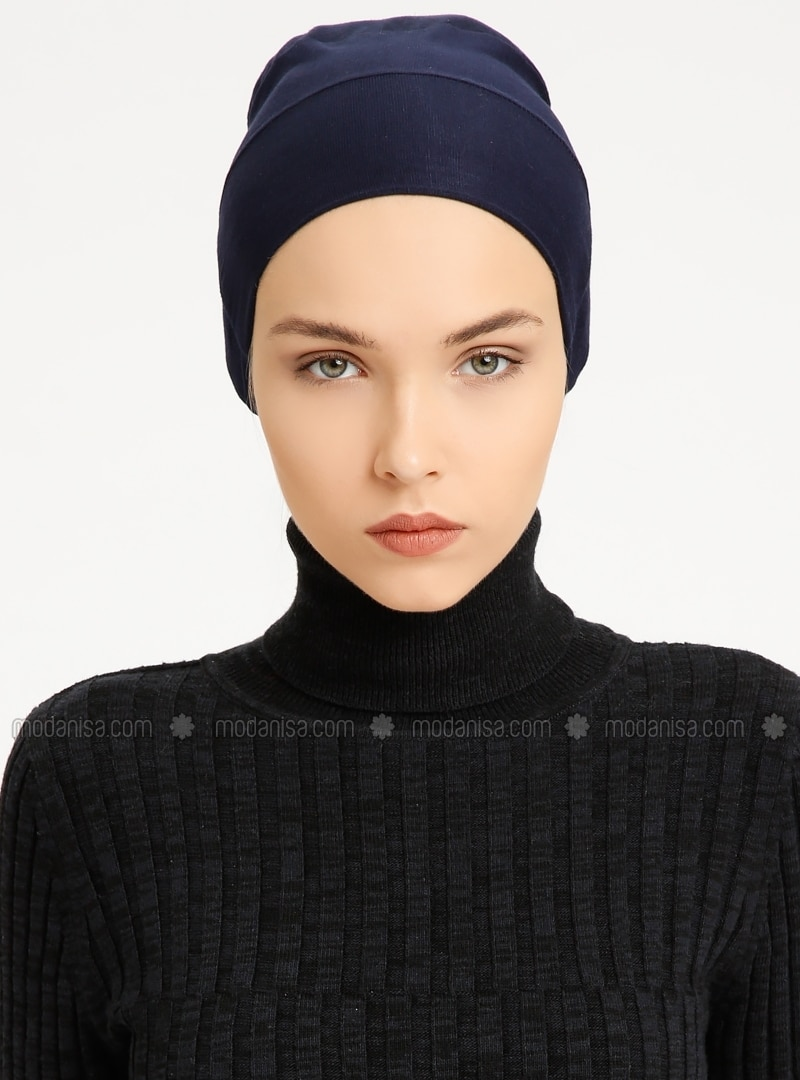 Combed Cotton - Lace up - Navy Blue - Bonnet - Tuva Şal