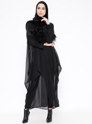 Black - Unlined - Topcoat - Ferrace By