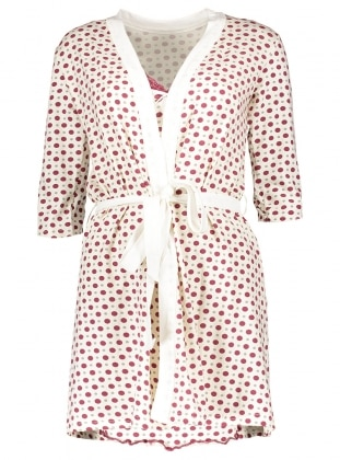Ecru - Maroon - Morning Robe