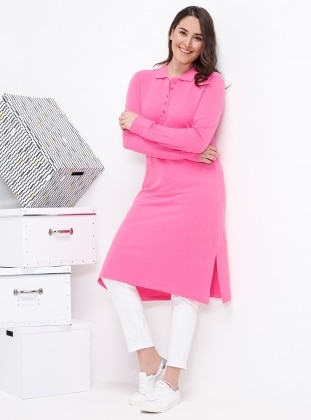 Pink - Point Collar - Cotton - Plus Size Tunic