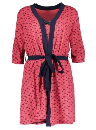 Coral - Navy Blue - Morning Robe - AKBENİZ