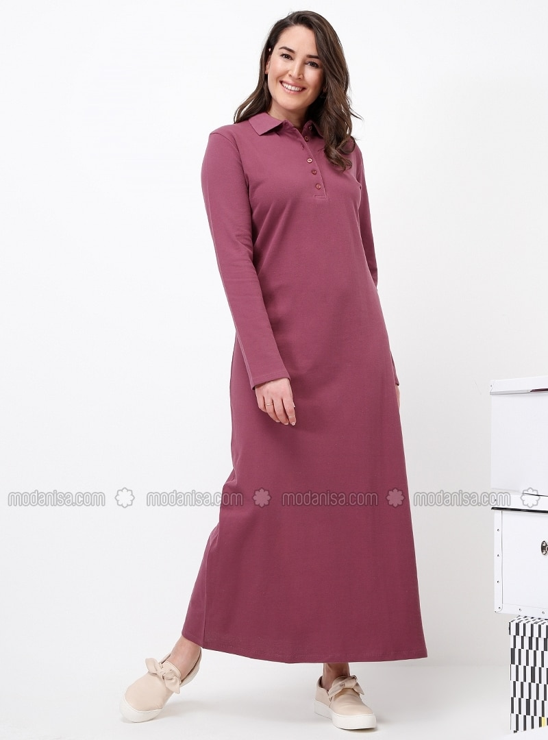Pink - Purple - Unlined - Point Collar - Cotton - Plus Size Dress - Alia