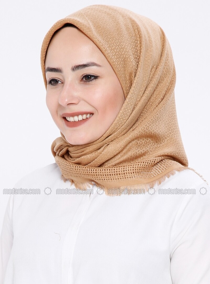 Cotton - Plaid - Camel - Scarf